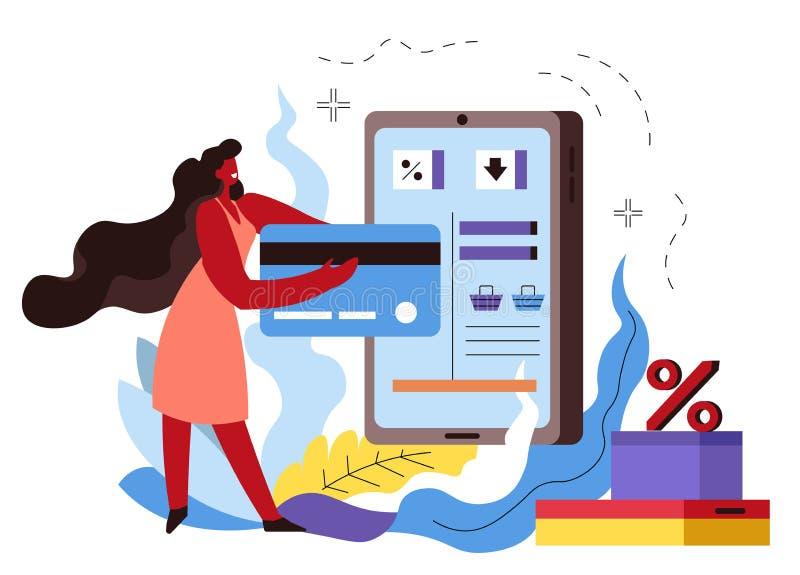 Einkaufen on-line, Frau, die im Internet-Speicher mit Kreditkarte kauft vektor abbildung