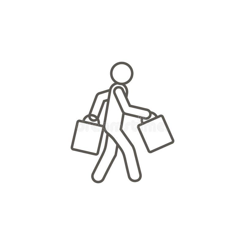Einkaufen, Mannvektorikone Einfache Elementillustration von der Karte und vom Navigationskonzept Einkaufen, Mannvektorikone Grund lizenzfreie abbildung