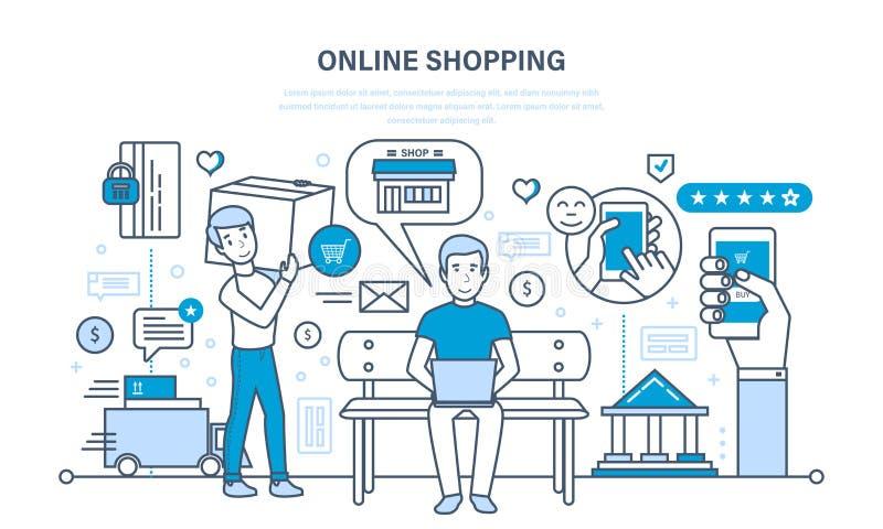 Einkaufen, Produktauswahl, Einzelteile Warenkorb, Zahlung und das Versenden hinzufügend stock abbildung