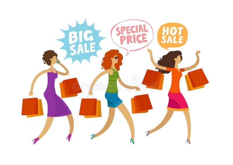 Einkaufen Räumungsverkauf, Modekonzept Leute, Mädchen laufen gelassen zum Speicher Lustige Karikaturvektorillustration stock abbildung