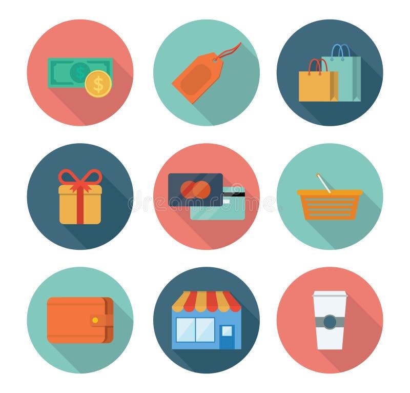 Einkaufen und Kleinikonen stockfotografie