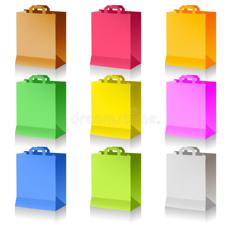 Einkaufenbeutel auf Weiß lizenzfreie abbildung