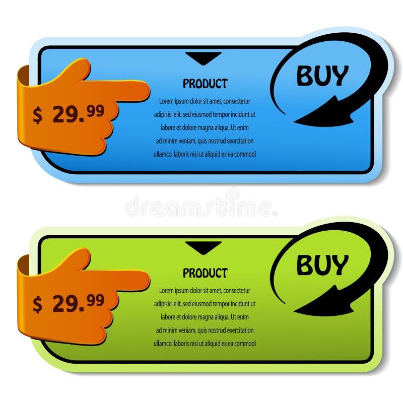 Einkaufenfahnen für Produkt vektor abbildung