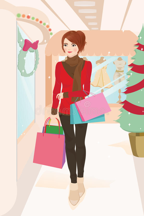 Einkaufenfrau vektor abbildung