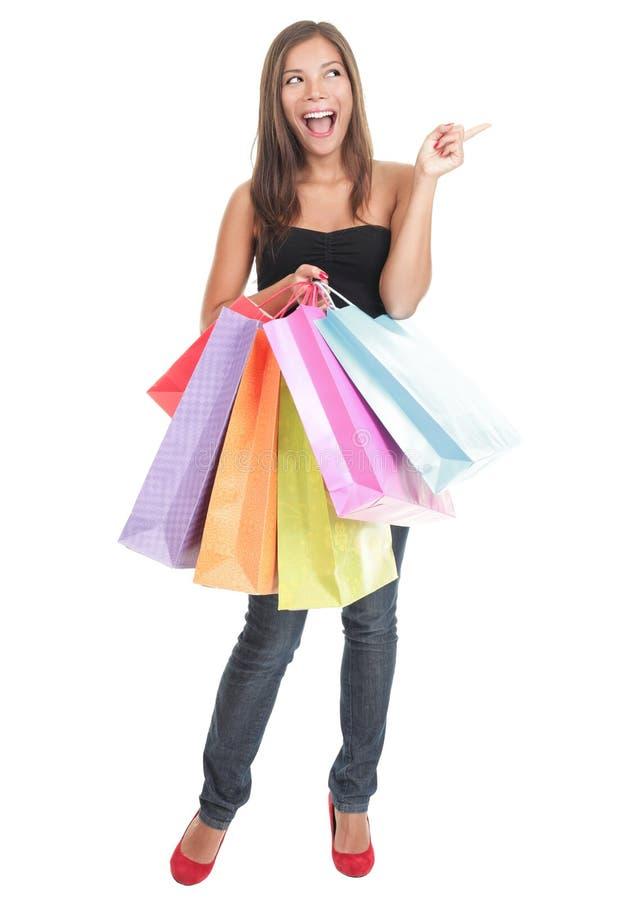 Einkaufenfrau getrennt - Zeigen erregt lizenzfreie stockfotos