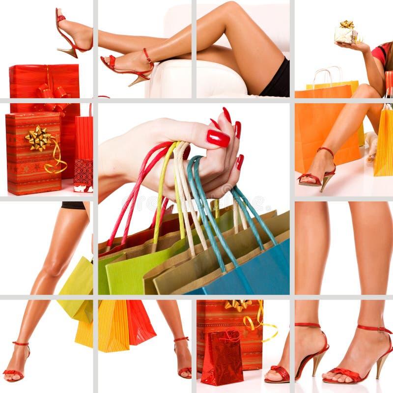 Einkaufenfrauencollage lizenzfreie stockfotografie