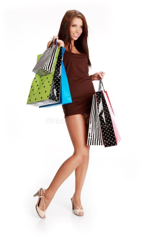 Einkaufenfrauenlächeln. lizenzfreie stockbilder