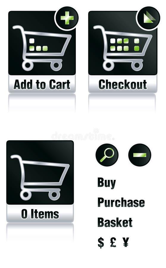 Einkaufenikonen stock abbildung
