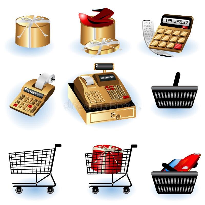 Einkaufenikonen 2 stock abbildung