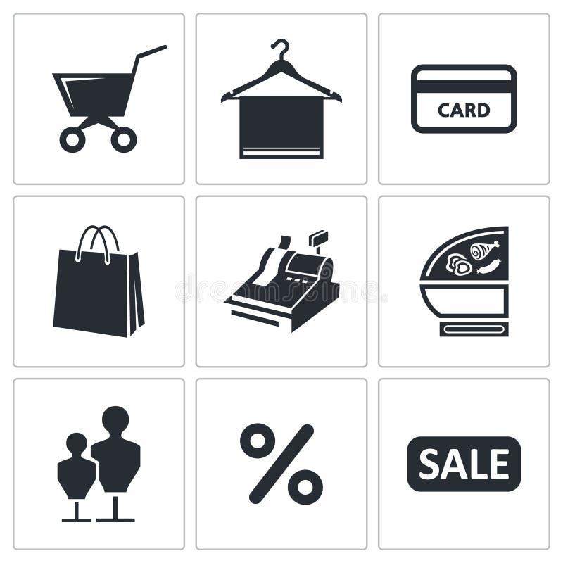 Einkaufenikonen eingestellt lizenzfreie abbildung