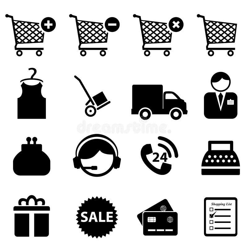 Download Einkaufenikonenset vektor abbildung. Illustration von gutschrift - 26362616