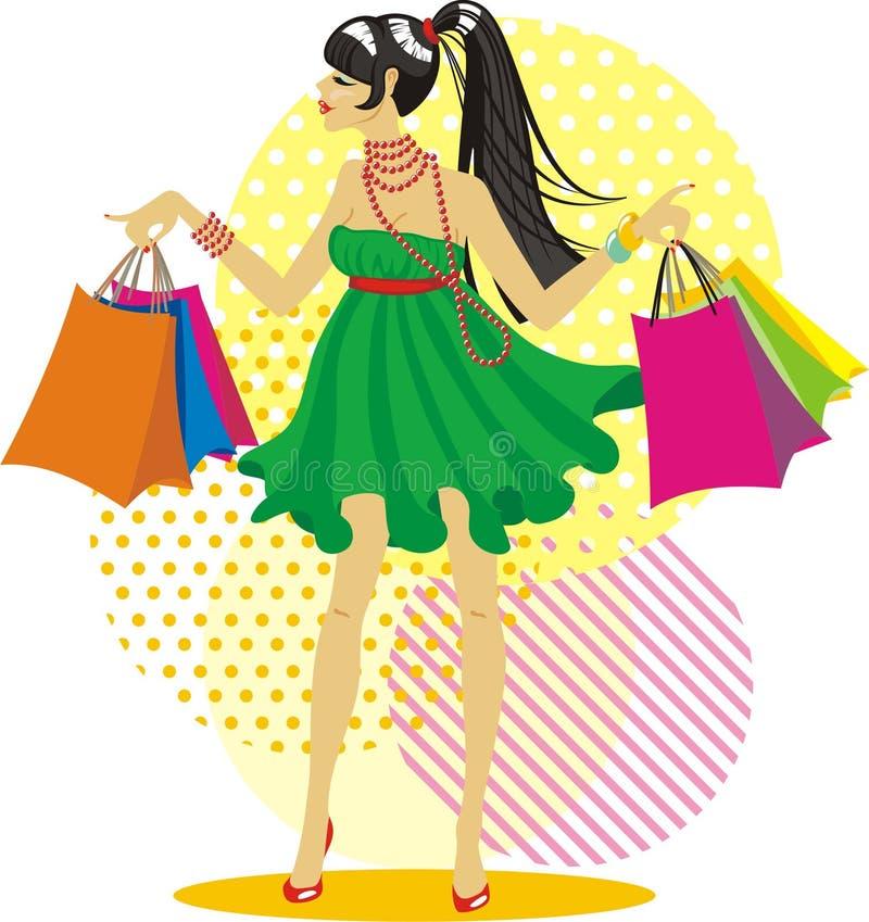 Einkaufenmädchen stockbild