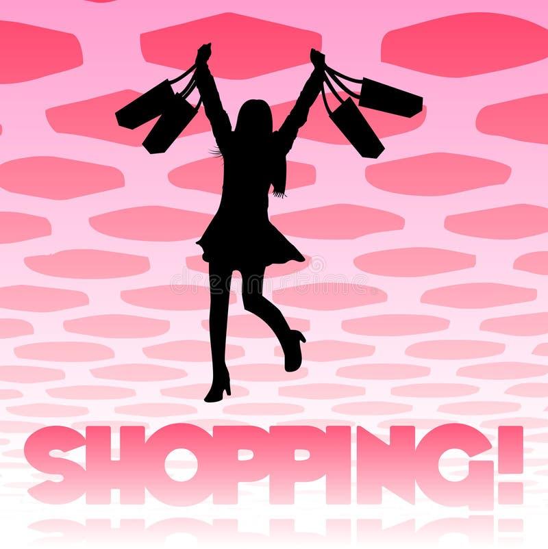 Einkaufenmädchenhintergrund lizenzfreie abbildung
