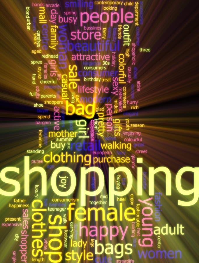 Einkaufenwort-Wolkenglühen lizenzfreie abbildung