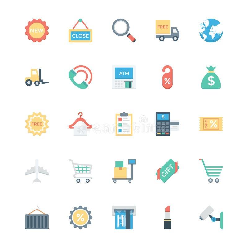 Einkaufs-, des elektronischen Geschäftsverkehrs, des Einzelhandels und des Versandsvektor-Ikonen 2 vektor abbildung