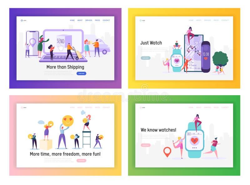Einkaufs-, Lieferungs-, Gesundheitswesen-und Social Media-Anwendungs-Website-Landungsseiten-Schablonen eingestellt, Leute unter V stock abbildung