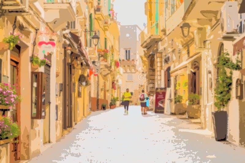 Einkaufs-Straßen des Dorfs in Süd-Italien lizenzfreie abbildung