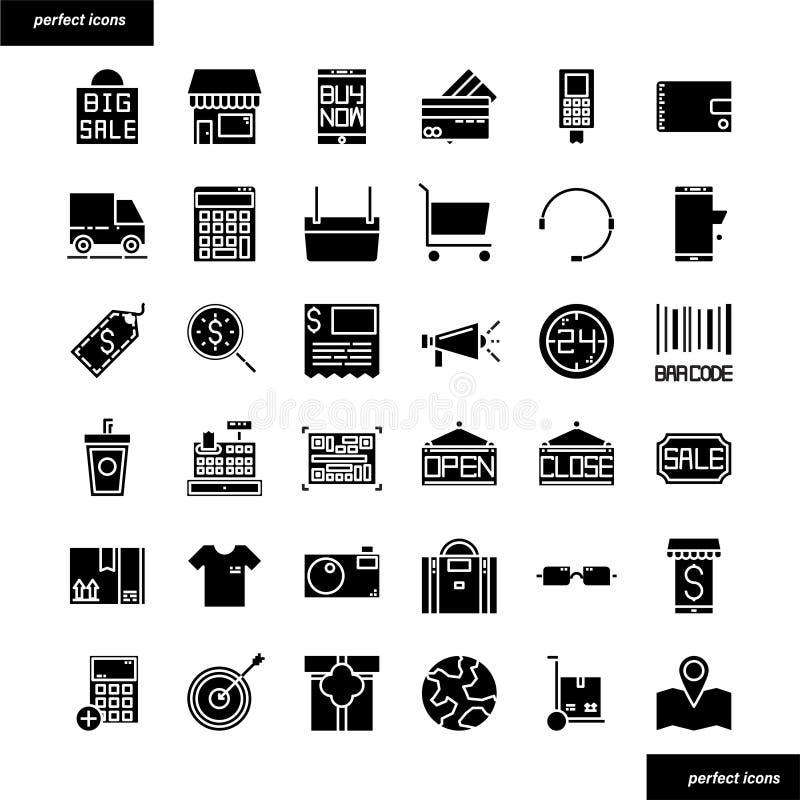 Einkaufs- und des elektronischen Geschäftsverkehrsfeste Ikonen eingestellt lizenzfreie stockbilder