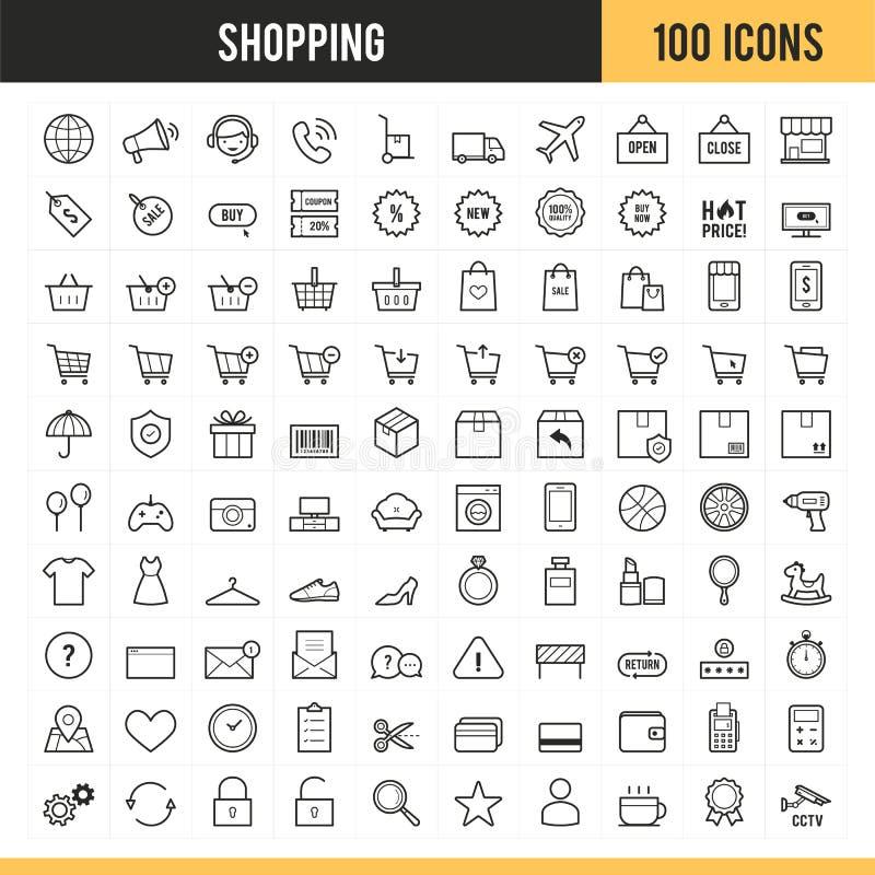 Einkaufs- und E-Commerce-Ikonen Auch im corel abgehobenen Betrag stockfoto