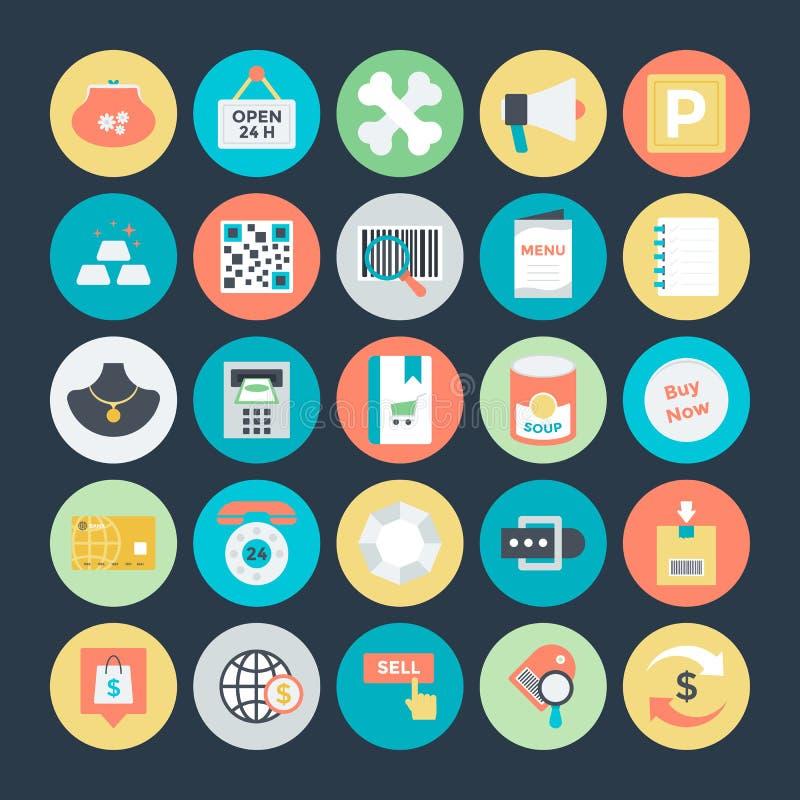 Einkaufs-und Handels-Vektor-Ikonen 4 stock abbildung