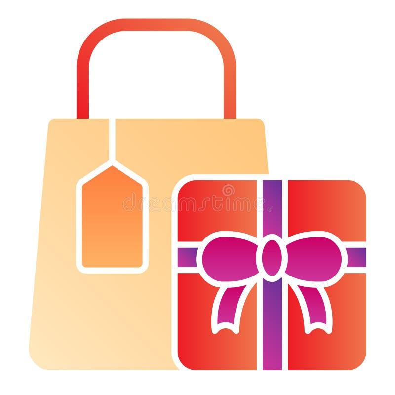 Einkaufsflache Ikone des pakets Einkaufsgeschenke färben Ikonen in der modischen flachen Art Geschenksteigungs-Artentwurf, entwor lizenzfreie abbildung