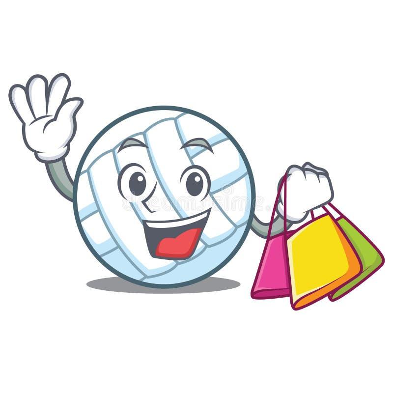 Einkaufsflugball-Charakterkarikatur lizenzfreie abbildung