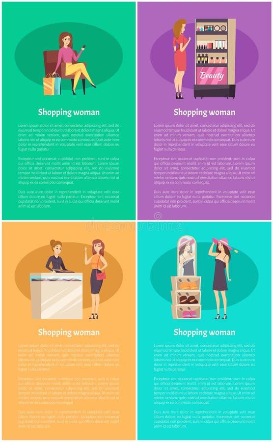 Einkaufsfrauen im Juweliergeschäft-Plakat-Satz-Vektor lizenzfreie abbildung