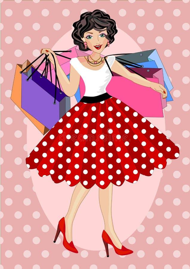 Einkaufsfrauen-Weinleseart vektor abbildung