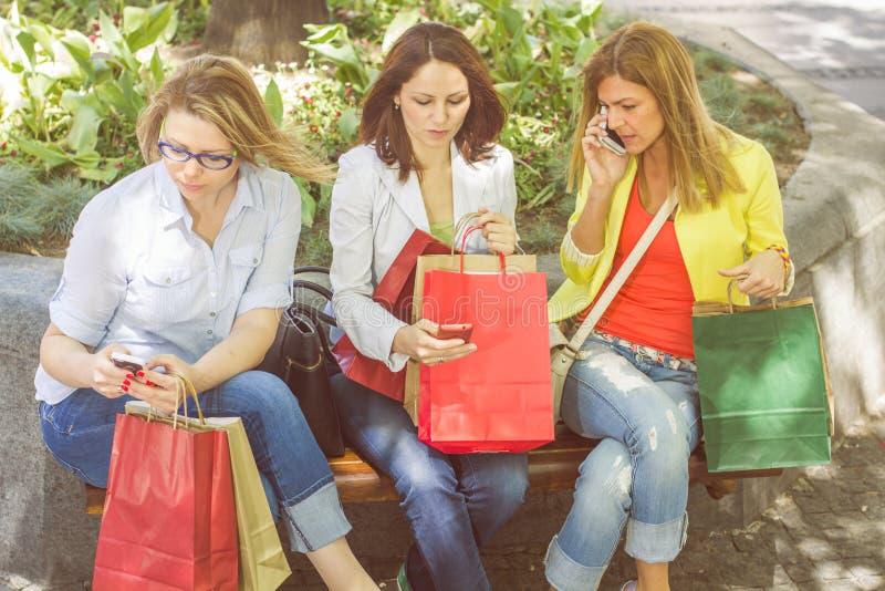Einkaufsfreundinnen stockfotos