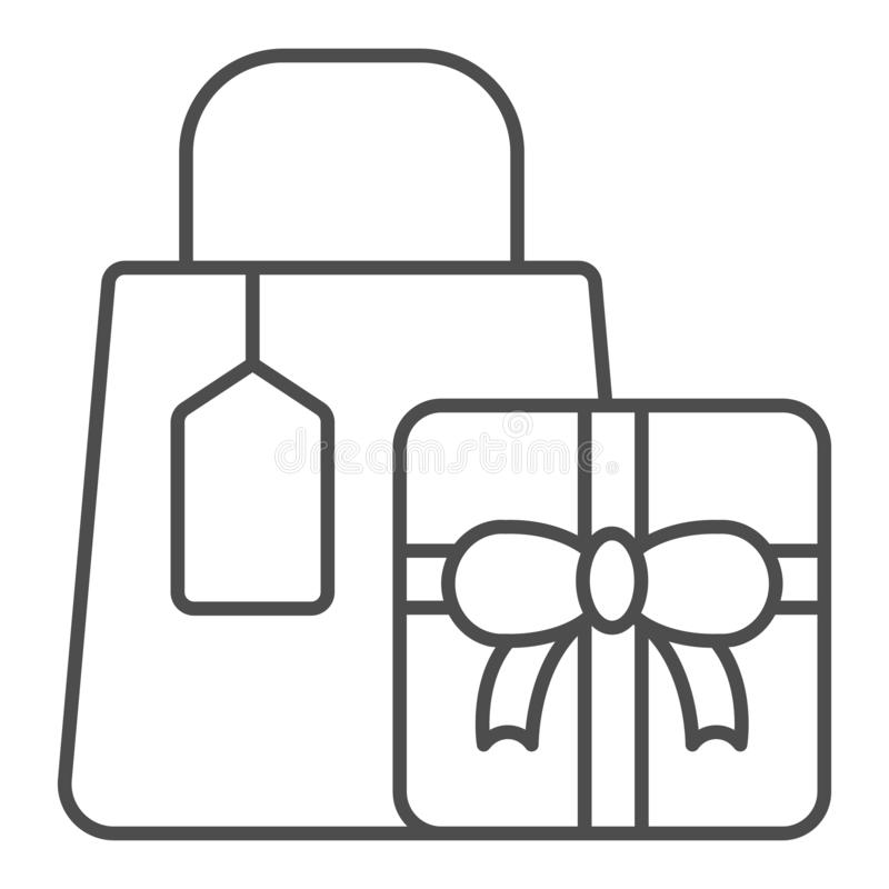 Einkaufsgeschenke verdünnen Linie Ikone Geschenkvektorillustration lokalisiert auf Wei? Einkaufspaketentwurfs-Artentwurf vektor abbildung