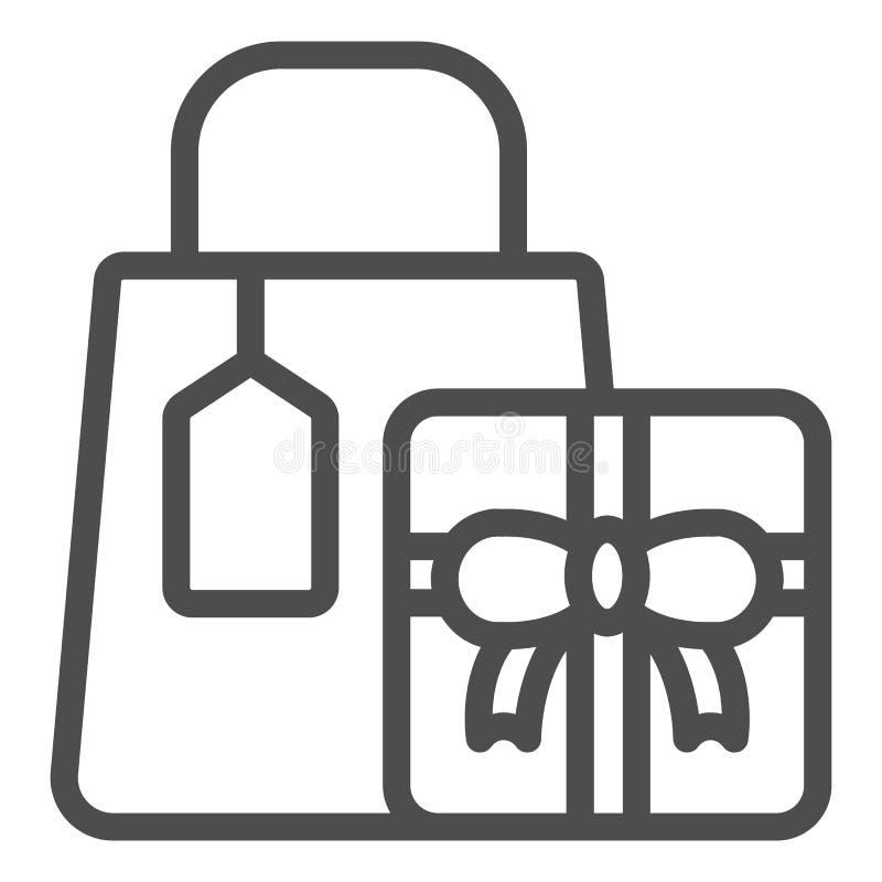 Einkaufsgeschenke zeichnen Ikone Geschenkvektorillustration lokalisiert auf Wei? Einkaufspaketentwurfs-Artentwurf lizenzfreie abbildung