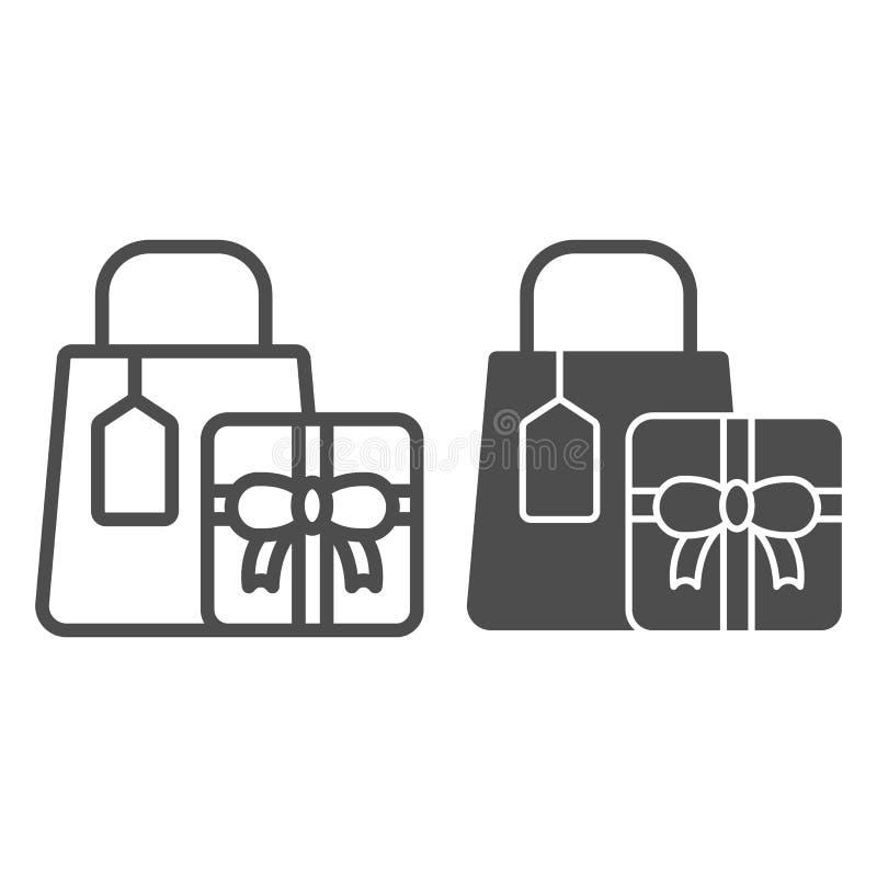 Einkaufsgeschenke zeichnen und Glyphikone Geschenkvektorillustration lokalisiert auf Weiß Einkaufspaketentwurfsart stock abbildung