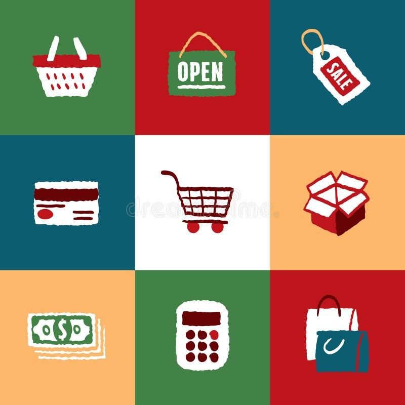 Einkaufsikonen eingestellt und Zeichen stock abbildung