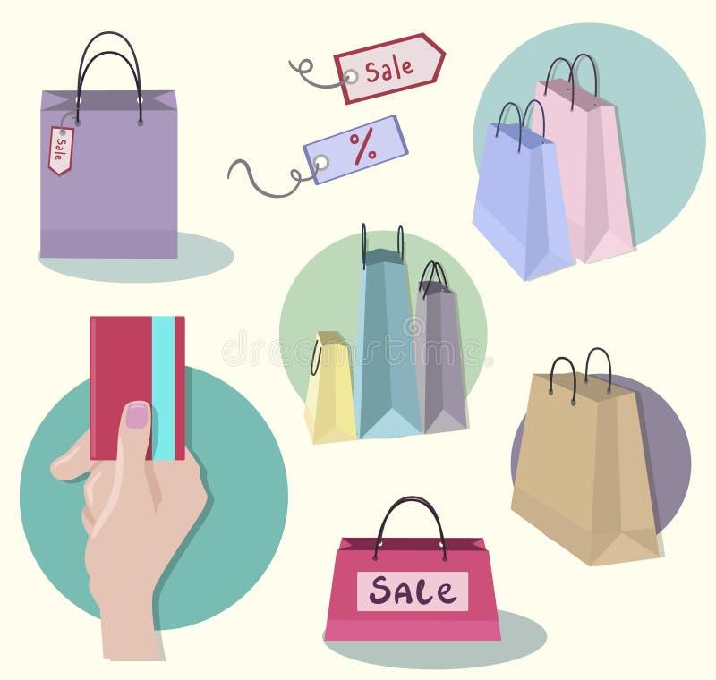 Einkaufsikonen, Verkaufstag, Papiertüten, Hand mit Cr vektor abbildung