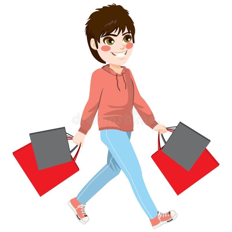 Einkaufsjungen-Gehen vektor abbildung
