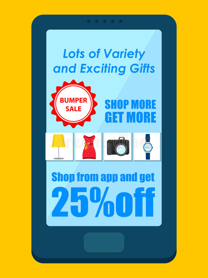 Einkaufskarnevals-Verkaufs-Plakat für bewegliche Anwendung lizenzfreie abbildung