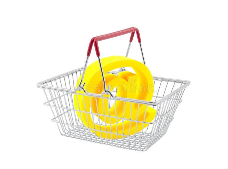Einkaufskorb mit E-Mail-Symbol stockbild