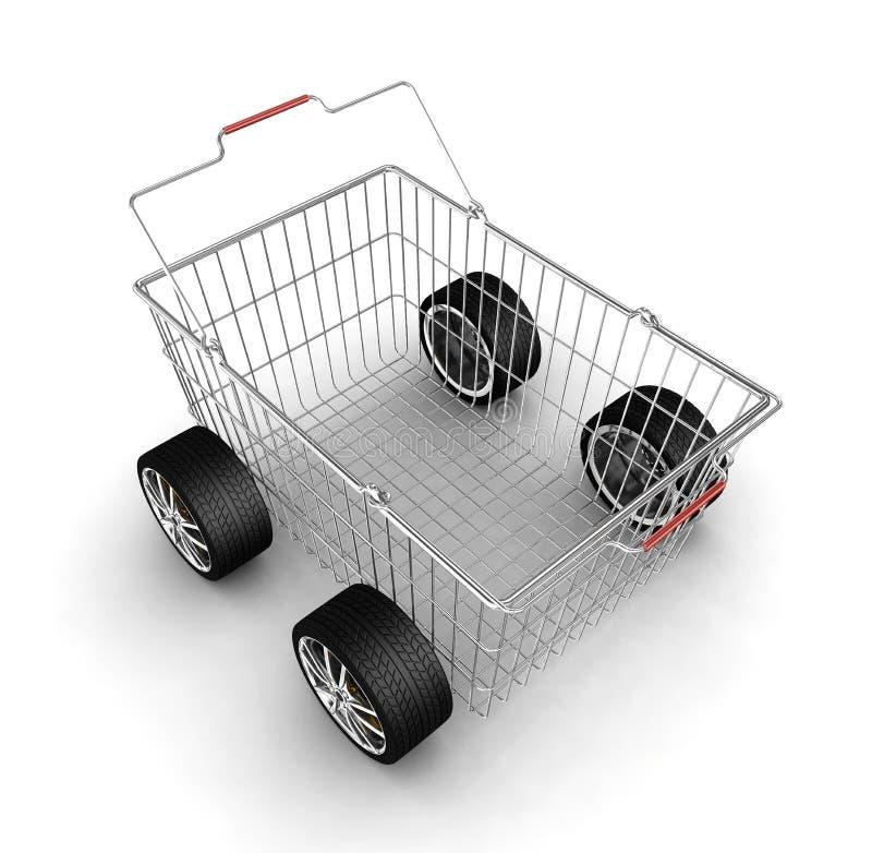 Einkaufskorb mit Rädern vektor abbildung