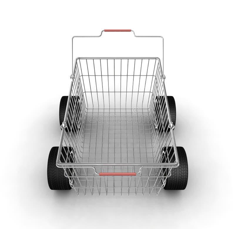 Einkaufskorb mit Rädern lizenzfreie abbildung