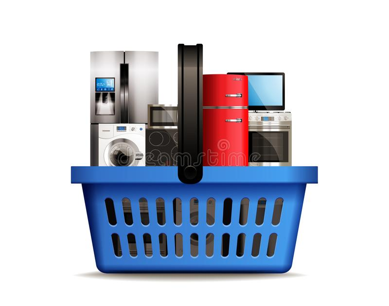 Einkaufskorb voll von KüchenHaushaltsgeräten mögen Gefrierschrank-, Wäschemaschinen-, Fernseh-, Spülmaschinen-, Gas- und Induktio vektor abbildung