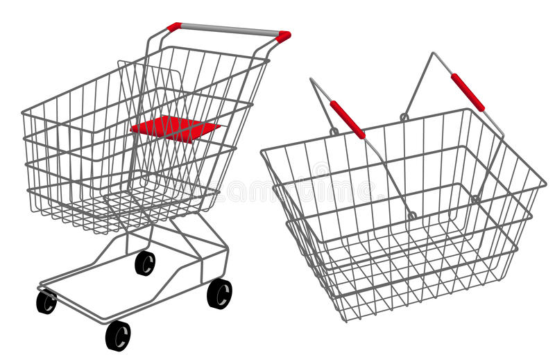 Einkaufskorbset stock abbildung