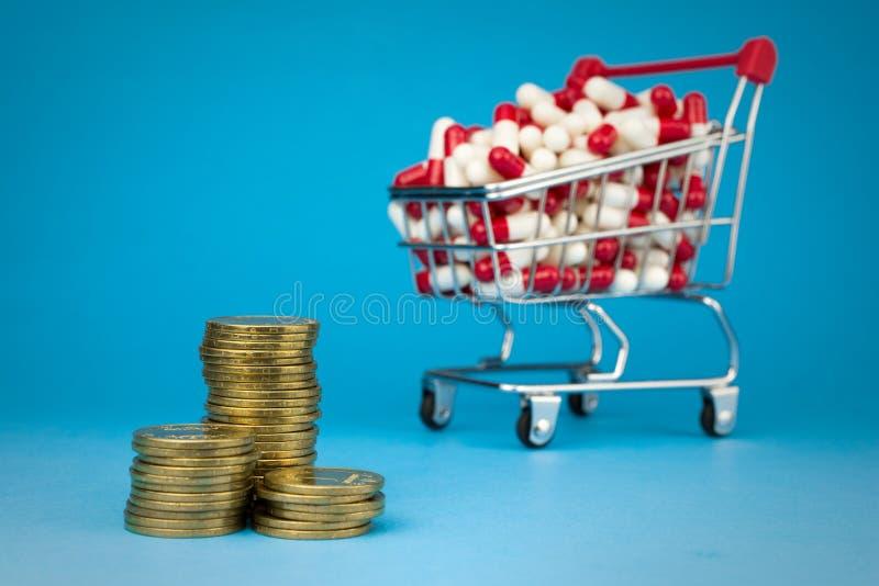 Einkaufslaufkatze f?llte rote medizinische Kapseln lizenzfreie stockfotos