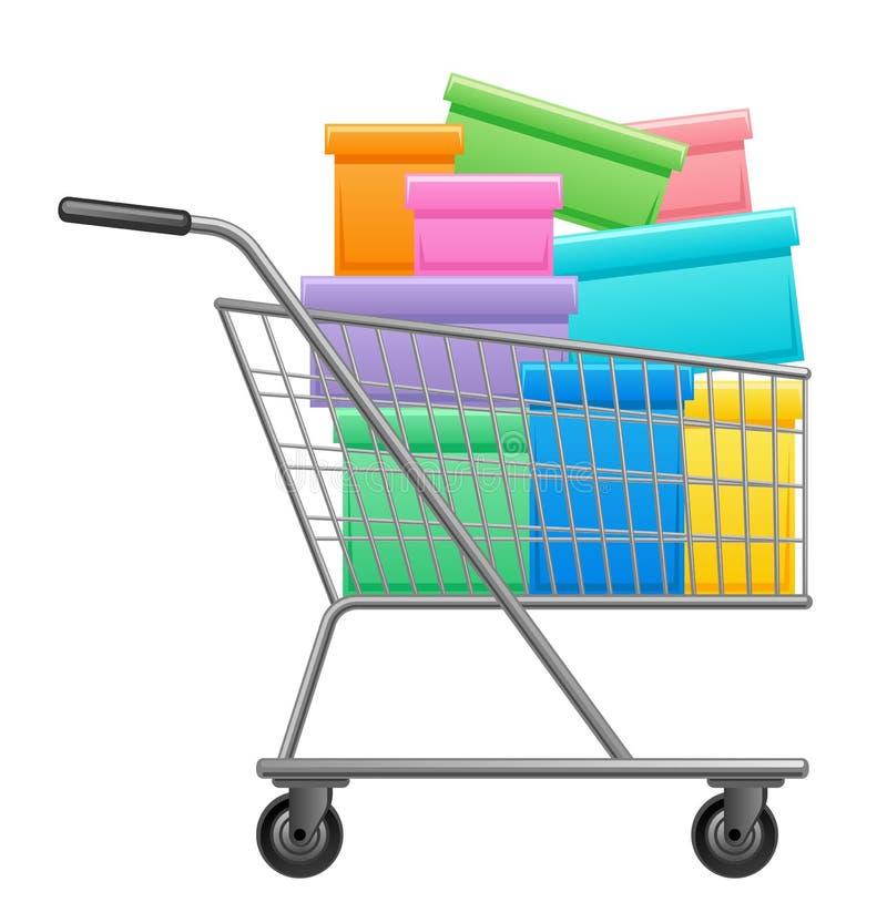 Einkaufslaufkatze mit Kästen lizenzfreie abbildung