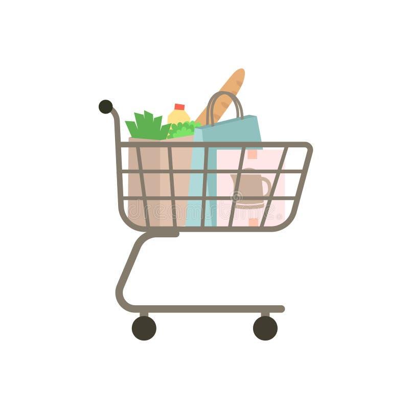 Einkaufslaufkatze voll der Tasche und des Kastens vektor abbildung