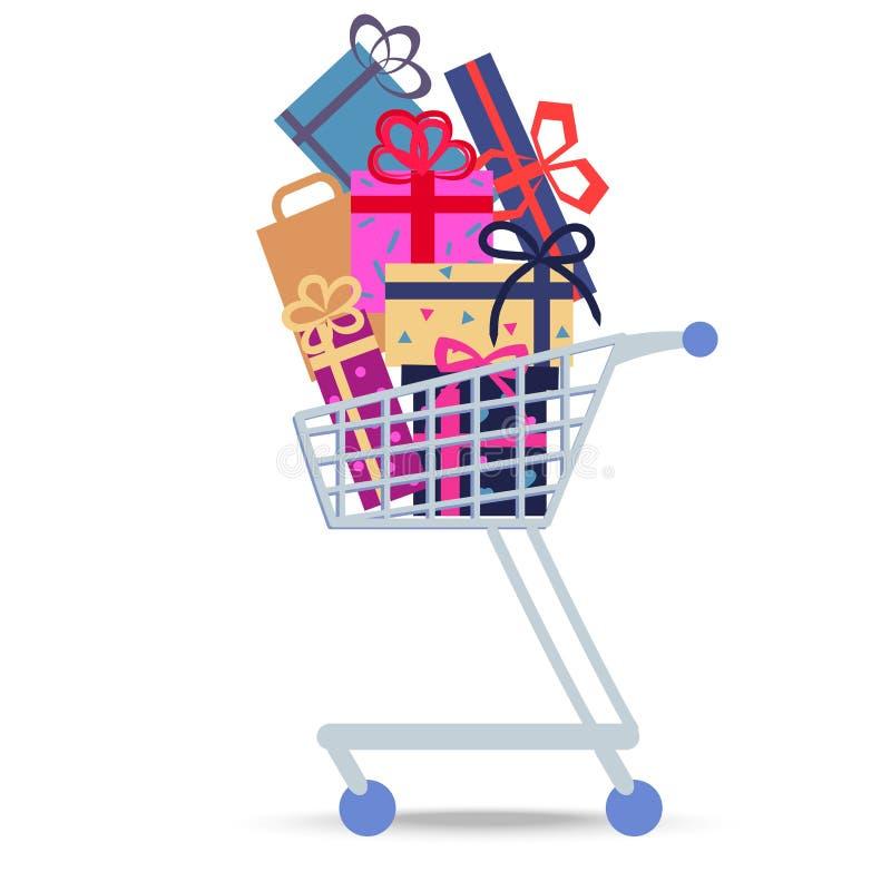 Einkaufslaufkatze voll von verschiedenen Käufen stock abbildung