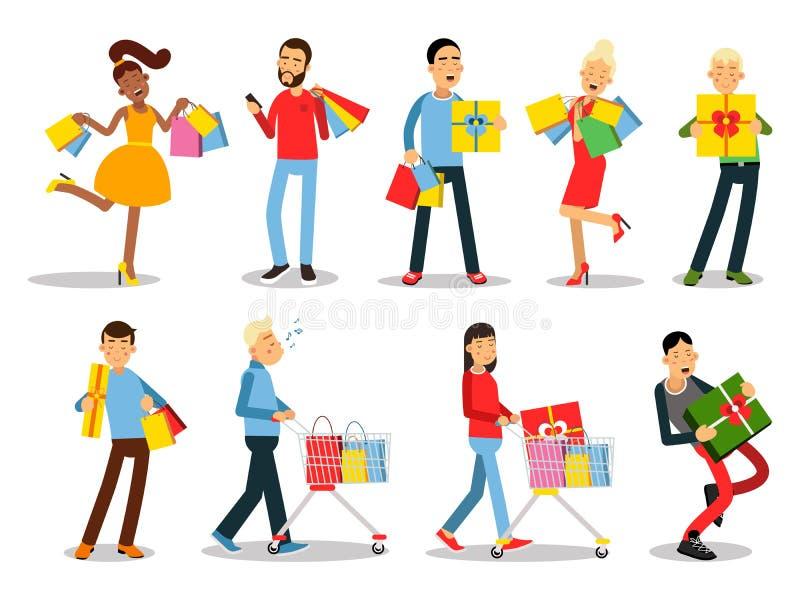 Einkaufsleute-Vektorkonzepte Flaches Design Sammlung lächelnde Frauen und Manncharaktere mit Geschenkboxen, Papiertüten und Schle stock abbildung