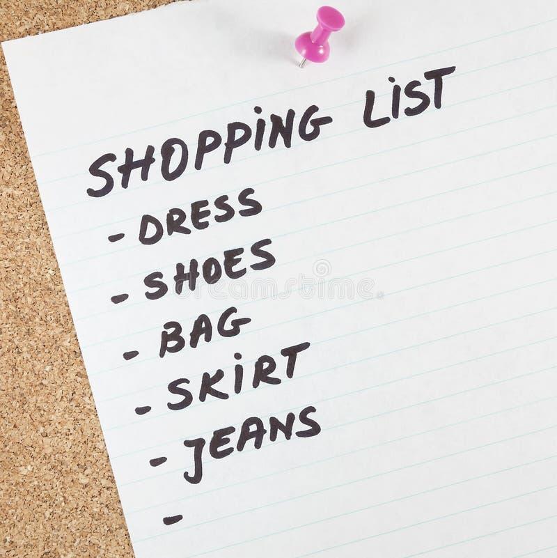 Einkaufsliste stockbilder
