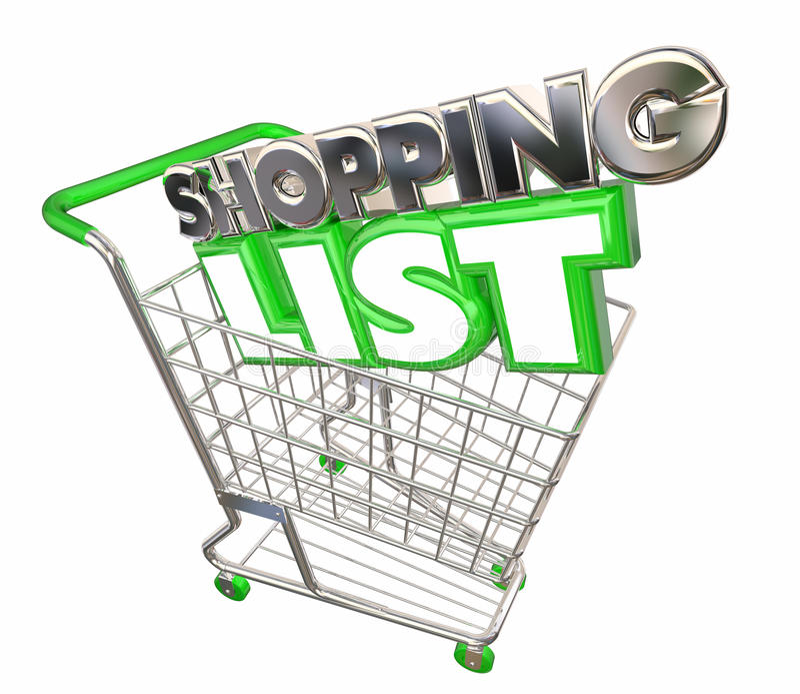 Einkaufsliste-Warenkorb-Kauf-Kauf-Speicher-Kunde vektor abbildung
