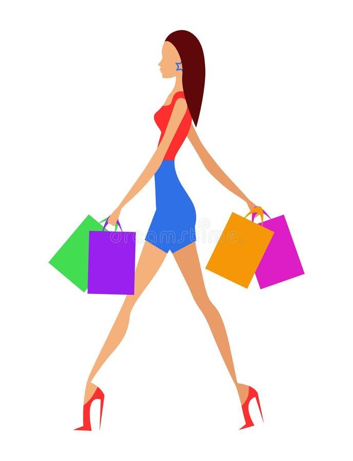 Einkaufsmädchen lizenzfreie abbildung