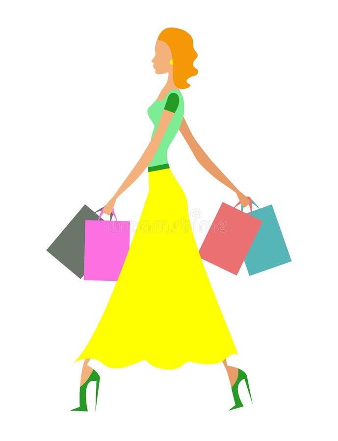 Einkaufsmädchen stock abbildung